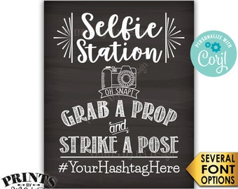 "Selfie Station Sign, Share Your Pics on Social Media, PRINTABLE 8x10/16x20"" Chalkboard Style Hashtag Sign <Edit Yourself with Corjl>"