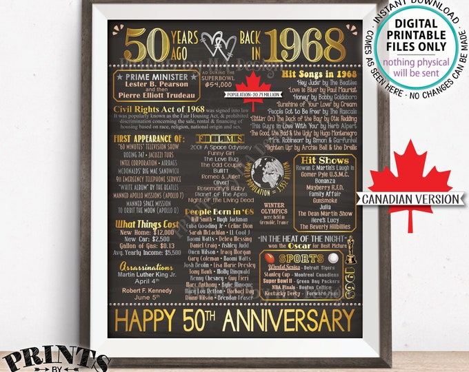"50th Anniversary Gift, CANADA Married in 1968 Anniversary Flashback 50 Years Back in 1968, Gold, Chalkboard Style PRINTABLE 8x10/16x20"" <ID>"