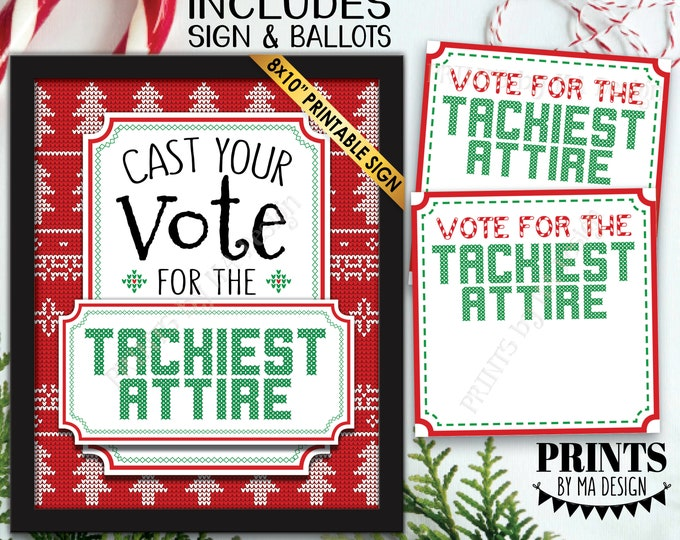 Vote for the Tackiest Attire, Ugly Christmas Sweater Party Voting Sign and Ballots, PRINTABLE Sign and Ballots <Instant Download>