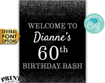 """Birthday Bash Sign, Welcome to the Birthday Party Decoration, PRINTABLE 8x10/16x20"""" Silver Glitter Sign <Edit Yourself with Corjl>"""