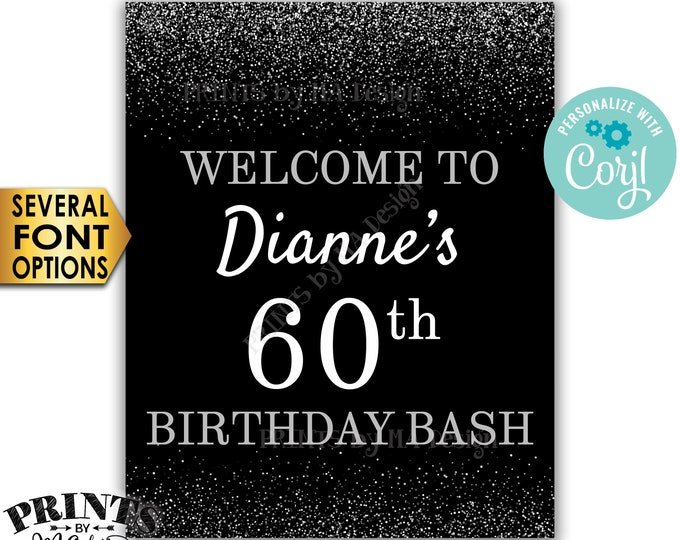 "Birthday Bash Sign, Welcome to the Birthday Party Decoration, PRINTABLE 8x10/16x20"" Silver Glitter Sign <Edit Yourself with Corjl>"