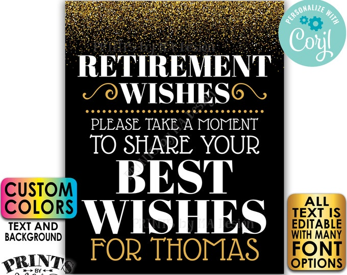 """Retirement Party Sign, Please Leave Your Best Wishes for the Retiree, PRINTABLE 8x10/16x20"""" Gold Glitter Sign <Edit Yourself w/Corjl>"""