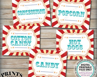 "Carnival Food Signs, Carnival Theme Party, Popcorn, Cotton Candy, Hot Dogs, Circus Theme Party, Teal, PRINTABLE 8x10/16x20"" Food Signs <ID>"