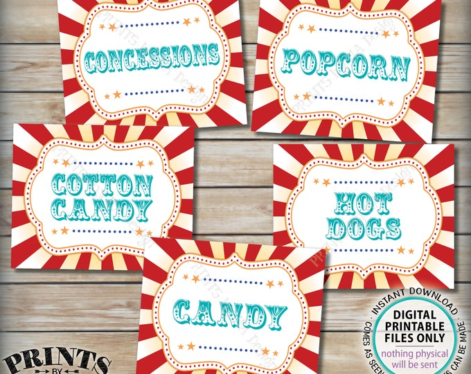 """Carnival Food Signs, Carnival Theme Party, Popcorn, Cotton Candy, Hot Dogs, Circus Theme Party, Teal, PRINTABLE 8x10/16x20"""" Food Signs <ID>"""