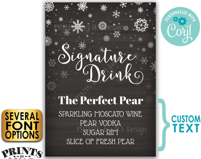 """Signature Drink Sign, Christmas Party Cocktail, Snowflake Holiday Bar, PRINTABLE 5x7"""" Chalkboard Style Drink Sign <Edit Yourself w/Corjl>"""
