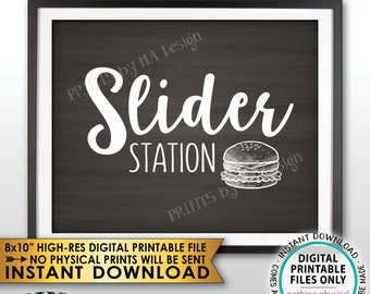 "Slider Station Sign, Burger Bar Sign, Slider Bar, Graduation, Birthday, Retirement, Wedding Shower, Chalkboard Style PRINTABLE 8x10"" <ID>"