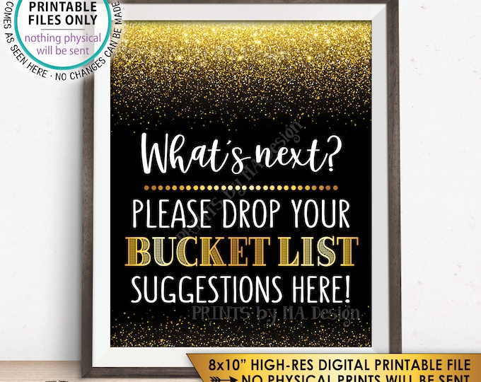"Bucket List Suggestions Sign, Retirement, Graduation, Bon Voyage, Birthday, Fun Ideas, Black & Gold Glitter 8x10"" PRINTABLE Instant Download"