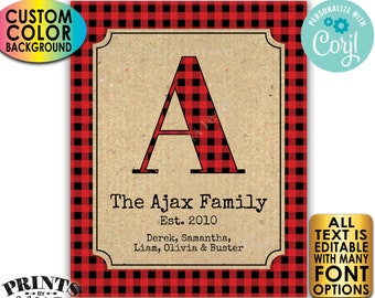 """Family Established Sign, Personalized Name Sign, Checker, Custom PRINTABLE 8x10/16x20"""" Buffalo Plaid Sign <Edit Color Yourself w/Corjl>"""