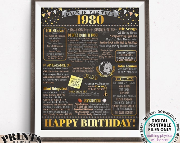"""1980 Birthday Flashback Poster, Back in the Year 1980 Birthday Decorations, '80 B-day Gift, PRINTABLE 16x20"""" B-day Sign <ID>"""
