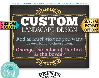 "Custom Poster, Choose Your Text & Colors, Ornate Border, PRINTABLE 8x10/16x20"" Chalkboard Style Landscape Sign <Edit Yourself with Corjl>"