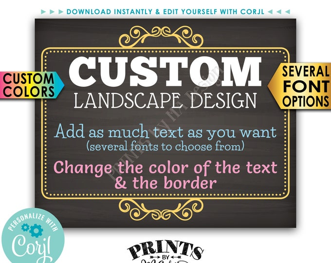 """Custom Poster, Choose Your Text & Colors, Ornate Border, PRINTABLE 8x10/16x20"""" Chalkboard Style Landscape Sign <Edit Yourself with Corjl>"""