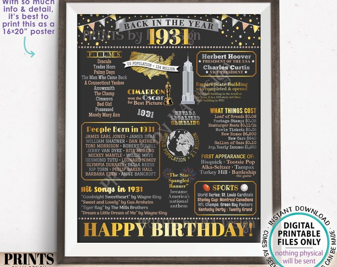 "Back in the Year 1931 Birthday Sign, Flashback to 1931 Poster Board, '31 B-day Gift, Bday Decoration, PRINTABLE 16x20"" Sign <ID>"