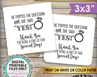 """Engagement Party Thank You Tags, Thank You for Being a Part of Our Special Day Wedding Tags, Square 3"""" tags on 8.5x11"""" PRINTABLE Sheet <ID>"""