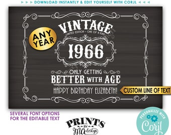 """Vintage Birthday Sign, Better with Age Liquor Themed Party, Custom PRINTABLE 24x36"""" Chalkboard Style Sign <Edit Yourself w/Corjl>"""