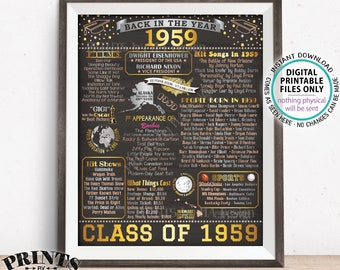 "Back in 1959 Sign, Class of 1959 Reunion Poster Board, Flashback to 1959 Graduating Class, PRINTABLE 16x20"" Decoration <ID>"