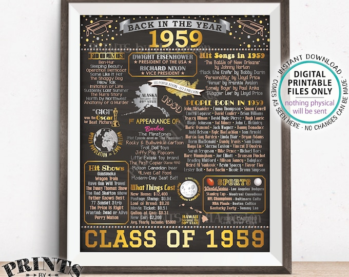 """Back in 1959 Sign, Class of 1959 Reunion Poster Board, Flashback to 1959 Graduating Class, PRINTABLE 16x20"""" Decoration <ID>"""