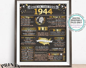 """Back in 1944 Flashback Poster Board, USA History Remember 1944 Poster, PRINTABLE 16x20"""" Back in 1944 Sign <ID>"""