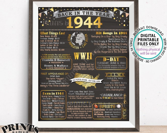 "Back in 1944 Flashback Poster Board, USA History Remember 1944 Poster, PRINTABLE 16x20"" Back in 1944 Sign <ID>"