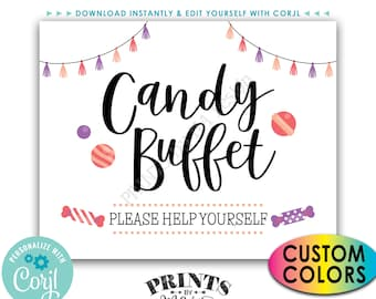 """Candy Buffet Sign, Please Help Yourself, Birthday Graduation, Candy Bar, PRINTABLE 8x10/16x20"""" Treat Sign <Edit Colors Yourself with Corjl>"""