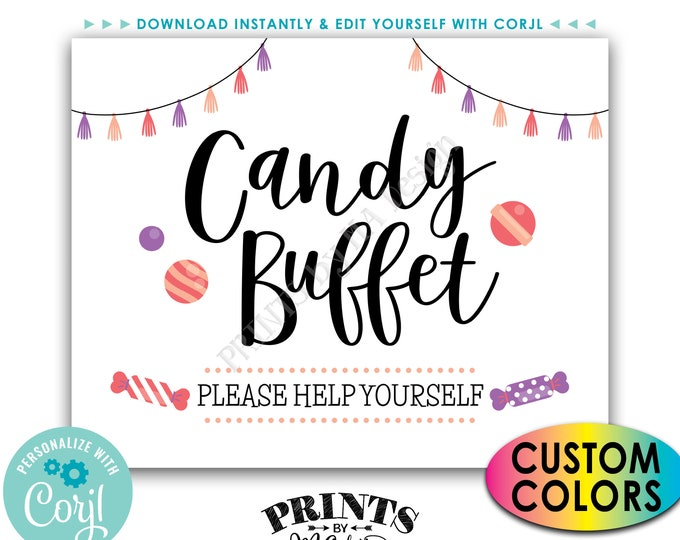 "Candy Buffet Sign, Please Help Yourself, Birthday Graduation, Candy Bar, PRINTABLE 8x10/16x20"" Treat Sign <Edit Colors Yourself with Corjl>"