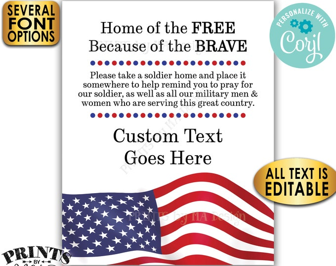 Please Pray for Our Soldier Sign, US Military Boot Camp Send-off, Take a Soldier, Custom PRINTABLE Patriotic Sign <Edit Yourself with Corjl>