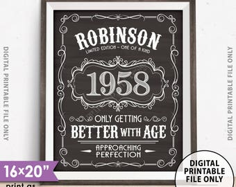 Vintage Birthday Sign, Better with Age, Aged to Perfection Liquor Themed Birthday, Custom Name/Year, PRINTABLE Chalkboard Style 8x10/16x20""