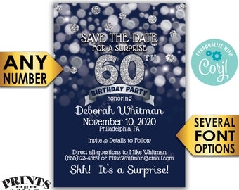 """Navy Blue & Silver Glitter Surprise Birthday Party Save the Date, PRINTABLE 5x7"""" Surprise Bday STD Invite Card <Edit Yourself with Corjl>"""