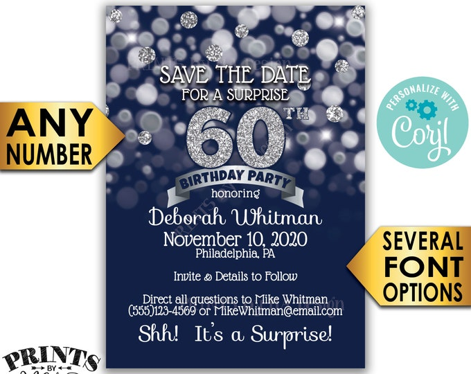 "Navy Blue & Silver Glitter Surprise Birthday Party Save the Date, PRINTABLE 5x7"" Surprise Bday STD Invite Card <Edit Yourself with Corjl>"