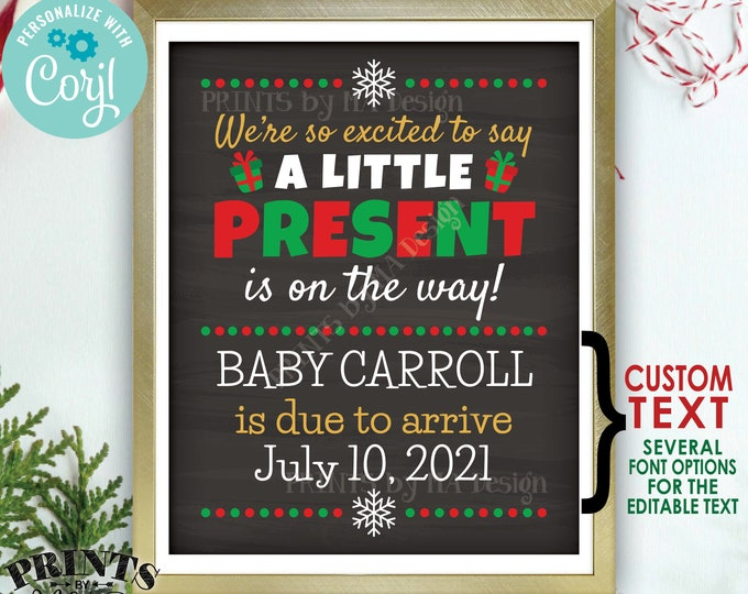 """Christmas Pregnancy Announcement, Little Present on the Way, PRINTABLE 8x10/16x20"""" Xmas Baby Reveal Sign <Edit Yourself with Corjl>"""