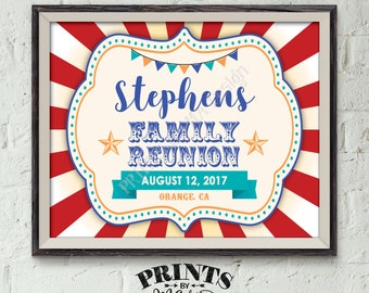 "Family Reunion Sign, Family Sign, Family Reunion Banner, Family Carnival Sign, Family is a Circus Sign, PRINTABLE 8x10/16x20"" Reunion Sign"