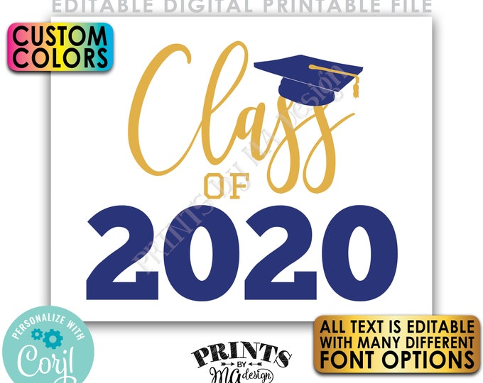 "Editable Class Of Year Sign, Any Year, Graduating Year, Custom PRINTABLE 8x10/16x20"" Graduation Party Decoration <Edit Yourself w/Corjl>"