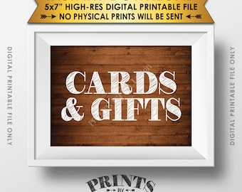 """Cards and Gifts Sign, Gifts Table, Gifts and Cards Wedding Sign, Birthday, Shower, Instant Download Rustic Wood Style 5x7"""" Printable File"""