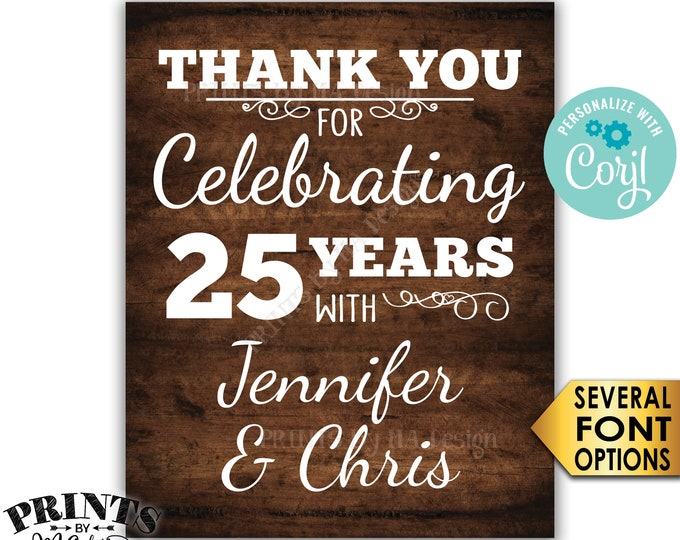 """Anniversary Party Sign, Thank You for Celebrating, PRINTABLE 16x20"""" Rustic Wood Style Anniversary Decoration <Edit Yourself with Corjl>"""