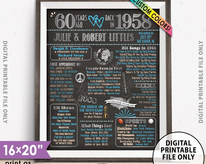 """60th Anniversary Gift Married in 1958 Anniversary, Flashback in 1958, Custom Chalkboard Style PRINTABLE 8x10/16x20"""" 1958 Anniversary Poster"""