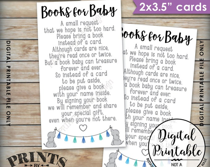 Books for Baby insert, Elephant Baby Shower, Blue Baby Shower Invite Insert, Bring Book instead of a Card, Instant Download Printable File