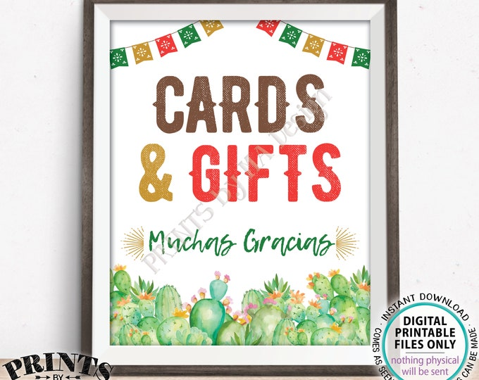 "Cards & Gifts Cactus Themed Sign, Muchas Gracias, Fiesta Decoration, PRINTABLE 8x10/16x20"" Sign, Tacos Nachos <Instant Download>"