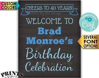 """Birthday Party Welcome Sign, Cheers to the Birthday Celebration, PRINTABLE Chalkboard Style 16x20"""" Sign <Edit Yourself with Corjl>"""