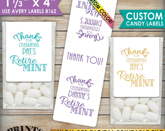 "Retirement Party Tic Tac Labels, Custom Color Retire MINT Stickers, Tic Tacs Labels, 1-1/3x4"" PRINTABLE Stickers, Print As Many As You Need"