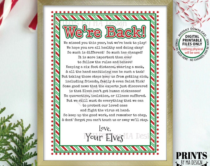 "Elf Welcome Back Letter, We're Back, Quarantine Isolation Keep Santa Healthy, Covid Pandemic, PRINTABLE 8.5x11"" Christmas Elves Sign <ID>"