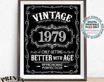 "1979 Birthday Sign, Better with Age Vintage Birthday Poster, Whiskey, Aged to Perfection, Black & White PRINTABLE 8x10/16x20"" 1979 Sign <ID>"