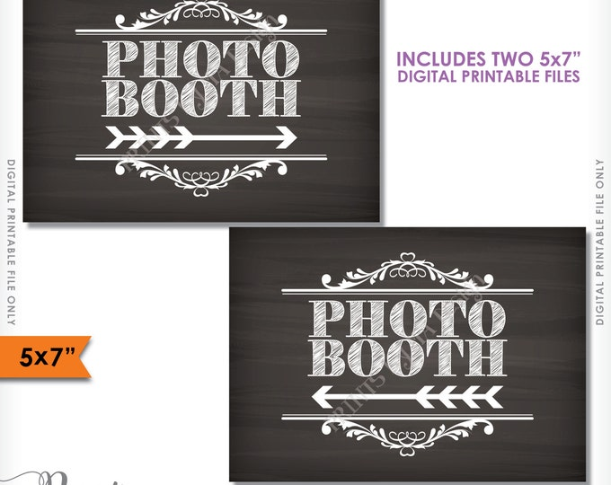 "Photobooth Directions, Point to Photobooth Sign, Right & Left Arrow to Photo Booth, 5x7"" Chalkboard Style Printable Instant Download Signs"