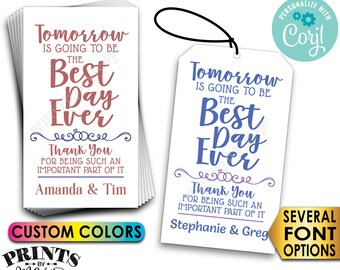 """Tomorrow is Going to be the Best Day Ever Rehearsal Dinner Gift Tags/Cards, Color Digital PRINTABLE 8.5x11"""" File <Edit Yourself with Corjl>"""