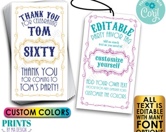 """Editable Only Getting Better with Age Party Favor Tags, Vintage Bday Custom PRINTABLE 8.5x11"""" Sheet of 2x3.5"""" Cards <Edit Yourself w/Corjl>"""