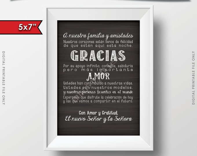 "Wedding Thank You 5x7"" Card in Spanish, El casarse le agradece cardar en Español, Gracias amigos, INSTANT DOWNLOAD Digital Printable File"