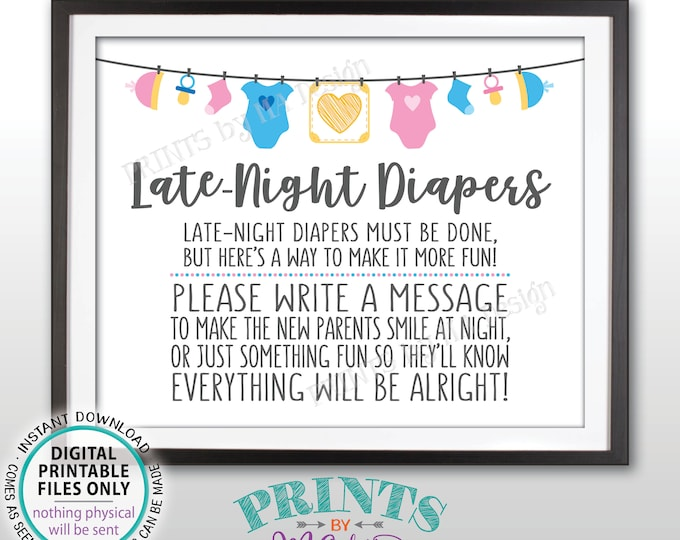 "Late Night Diaper Sign, Late-Night Diapers Sign some Diaper Thoughts, Pink & Blue PRINTABLE 8x10"" Gender Neutral Sign <ID>"
