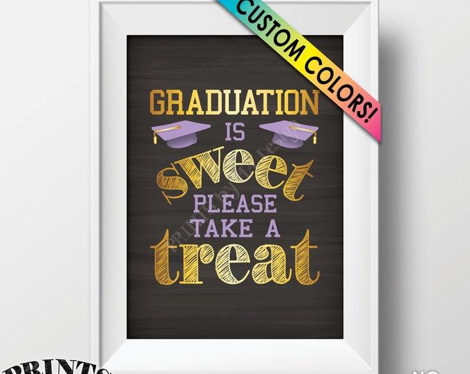 "Graduation Party Decoration, Graduation is Sweet Please Take a Treat, Candy Favor Grad Cap, PRINTABLE Chalkboard Style 5x7"" Graduation Sign"
