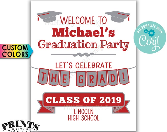 "Graduation Party Decorations, Welcome to the Graduation Party Sign, PRINTABLE 8x10/16x20"" Sign <Edit Yourself with Corjl>"