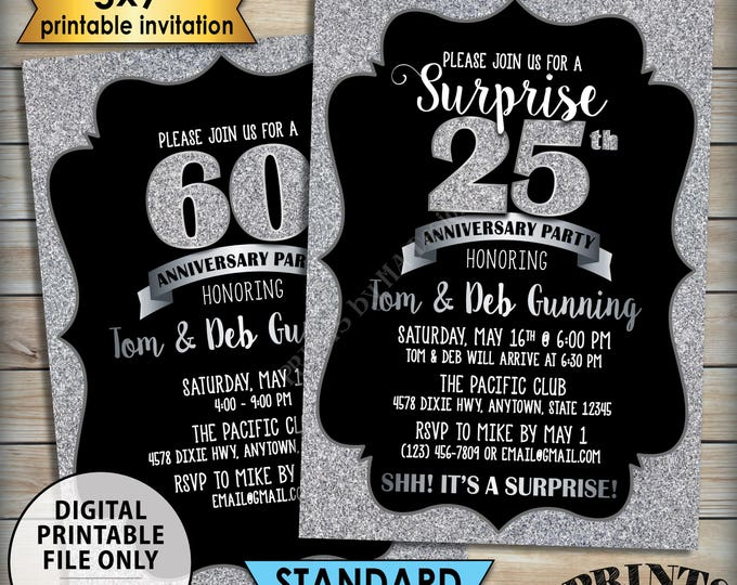 "Silver Anniversary Party Invitation, Standard or Surprise Black & Silver Glitter PRINTABLE 5x7"" Anniversary Invite"