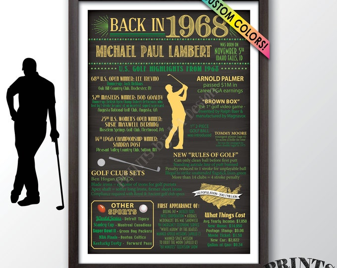 "Golf Themed 1968 Birthday Gift, Golf Facts from back in 1968 Flashback to 1968, Golf History, PRINTABLE 24x36"" B-day Poster"