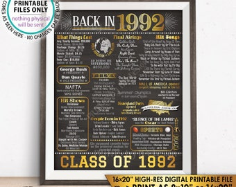 "Class of 1992 Reunion 26 Year Reunion Back in 1992 Flashback to 1992 26 Years Ago, Gold, PRINTABLE 8x10/16x20"" Chalkboard Style Sign <ID>"